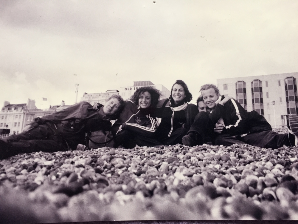 On the comfortable pebbles of Brighton Beach, February 2001