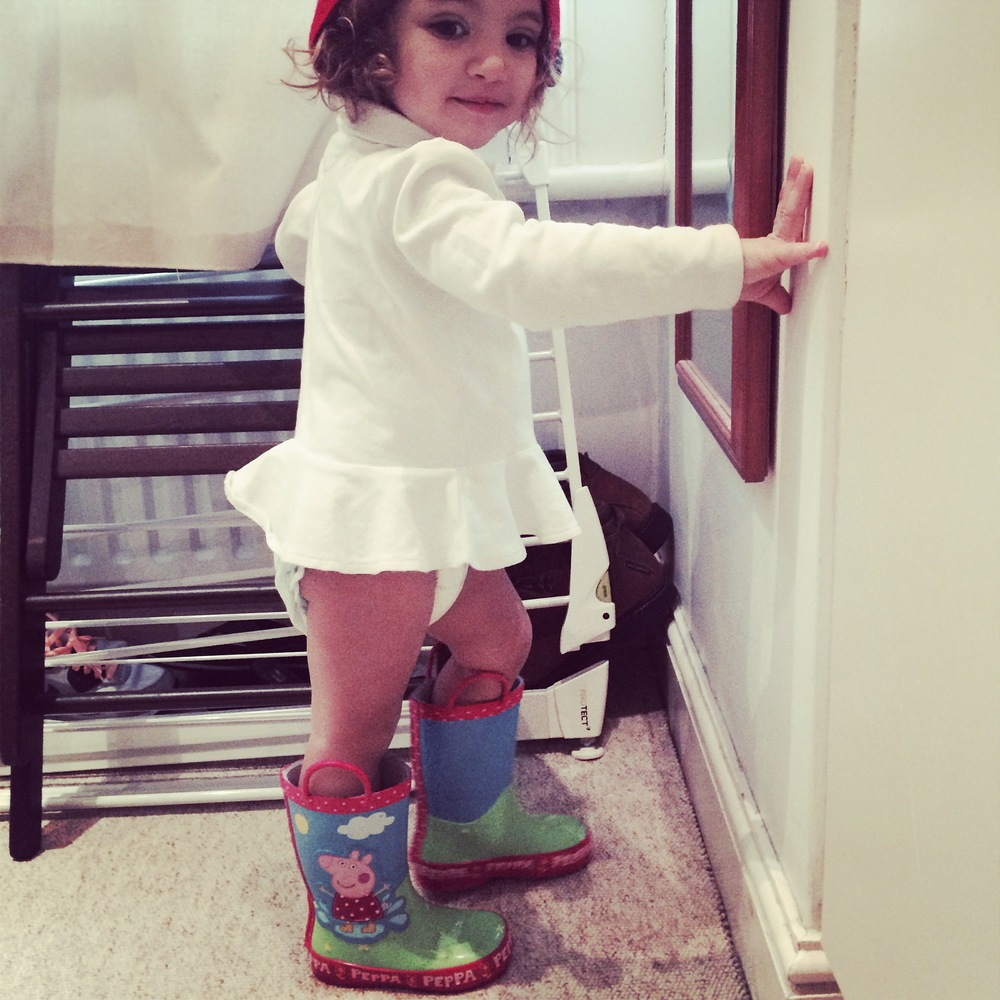 Mia and her Peppa Pig Wellies