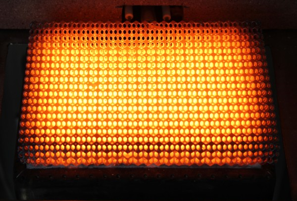 Stratasys 3D printed lattice during combustion - burning with a mixture of air and methane
