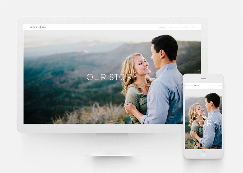 Beautiful wedding website built in Squarespace