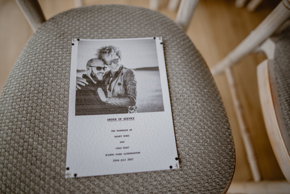 Photo of a wedding invitation for a Same-Sex Gay Wedding