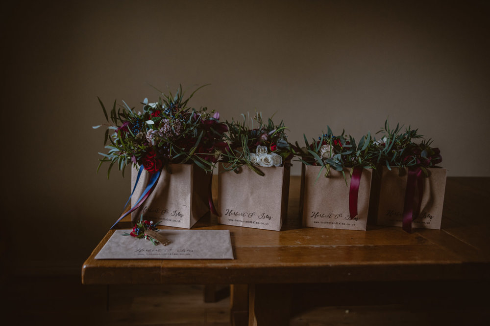 Bouquet and wedding flowers at Peckforton Castle