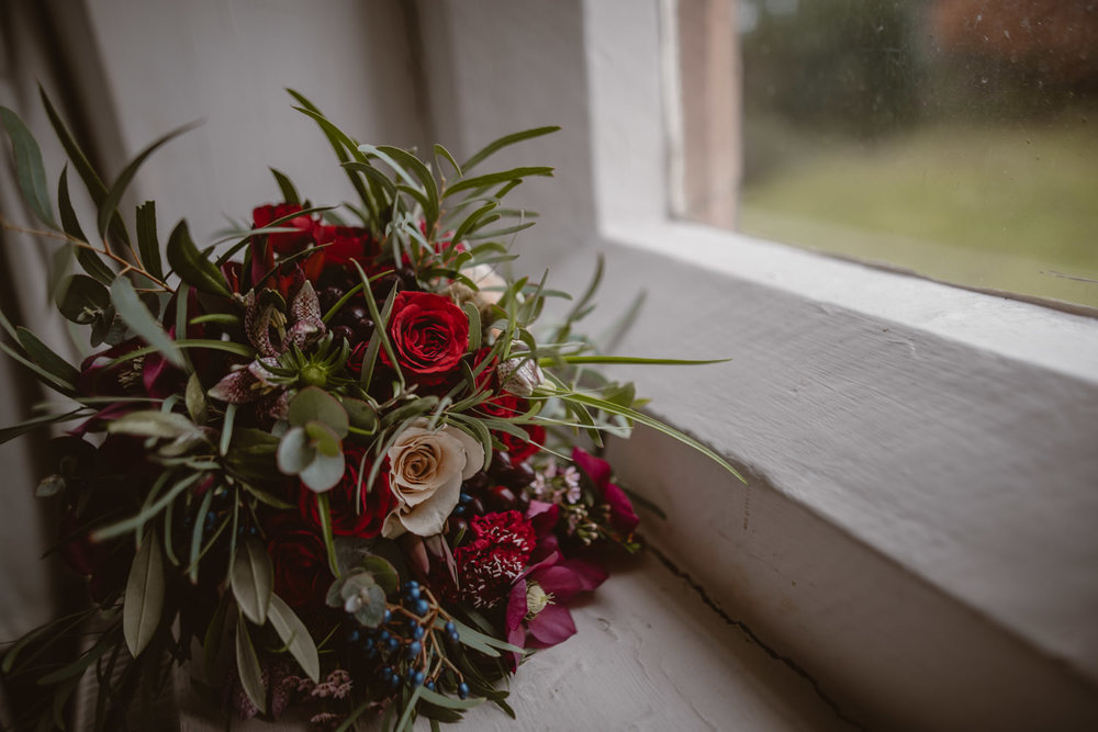 Bouquet of the bride in Peckforton Castle