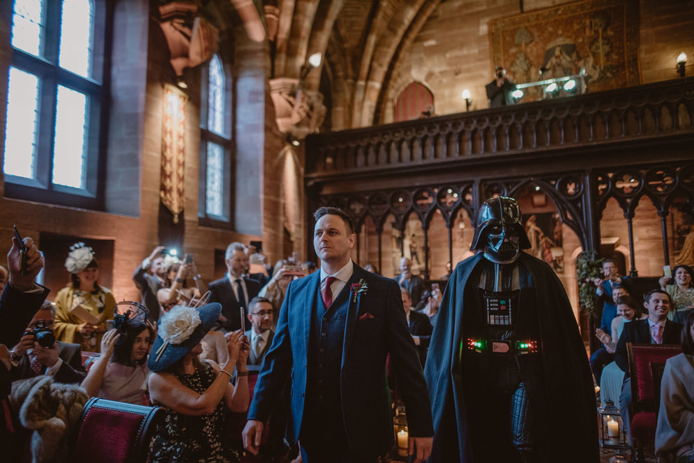 Groom and Darth Vader at Peckforton Castle Wedding Venue