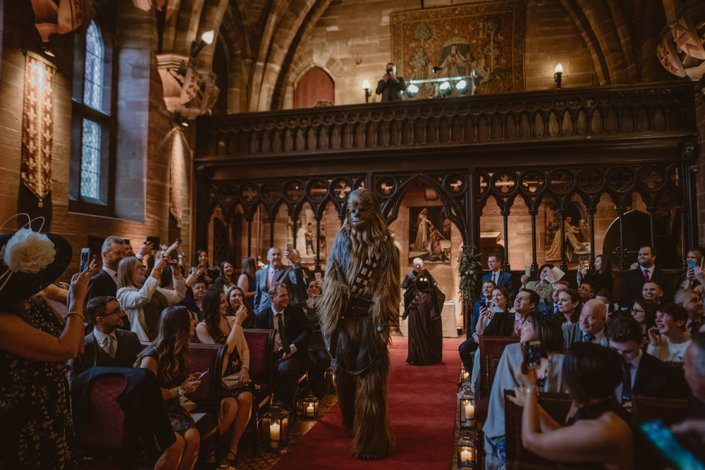 Chewbacca in a wedding ceremony at Peckforton Castle