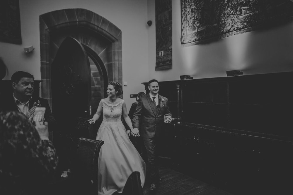 Bride and Groom at their reception at Peckforton Castle
