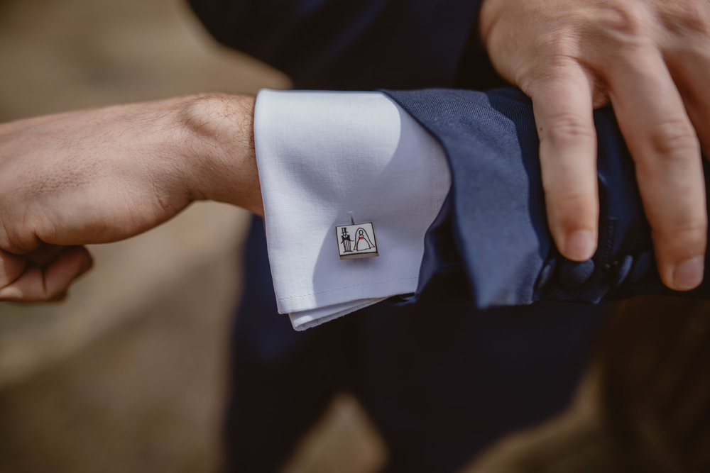 Wedding cufflinks in the Elvetham Hotel