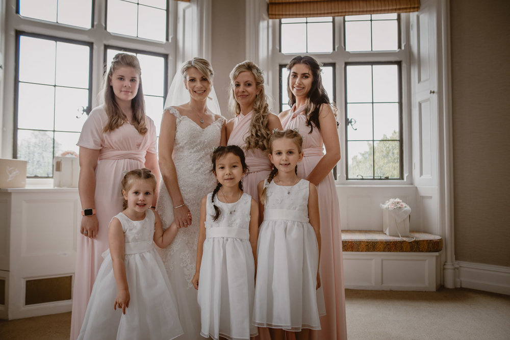 Bridesmaids and flower girls at The Elvetham Hotel, Hampshire