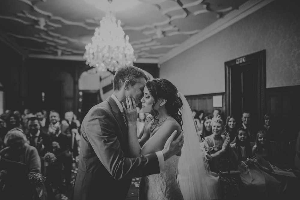 Froyle Park Bride and Groom Kissing Wedding Photography