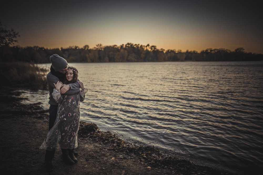 Couple in Virginia Water Lake during engagement Session