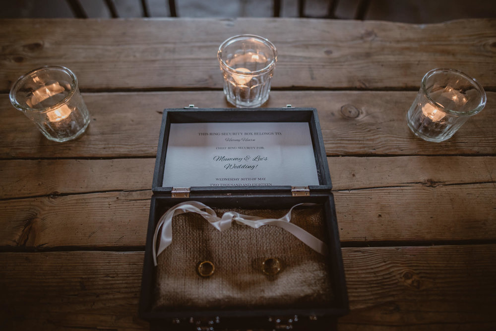 Wedding Rings on the table for the ceremony