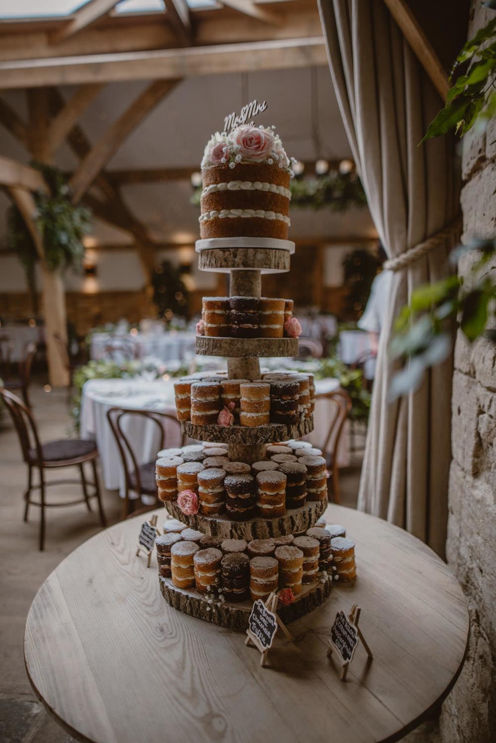 Naked Wedding cake Cripps Barn Gloucestershire