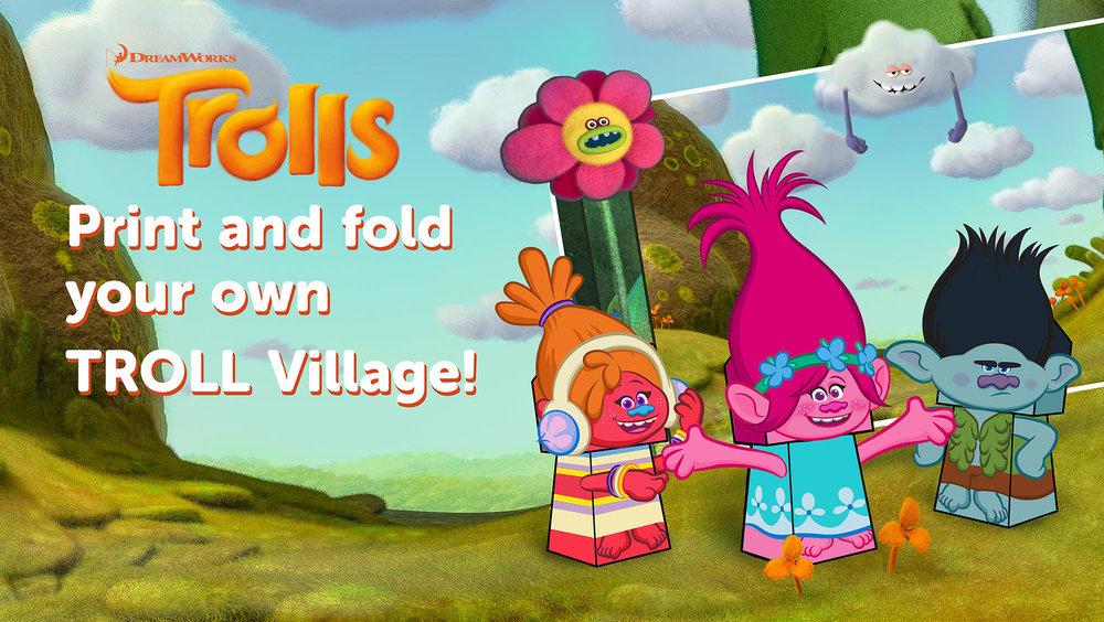 Troll Village paper Craft