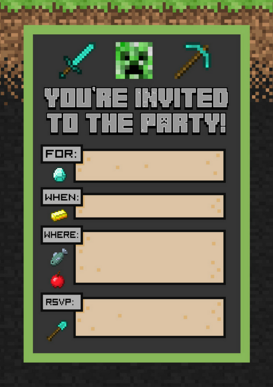 Minecraft Party Invite