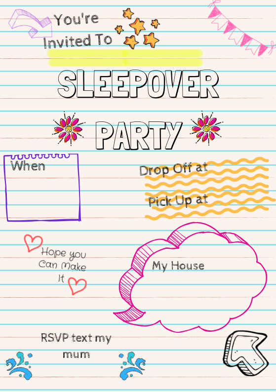 Sleepover Party Invite