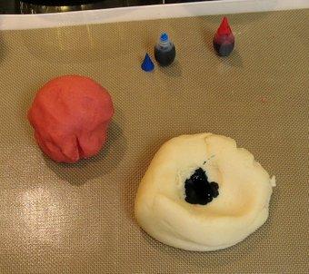 Make a divet, add food colouring