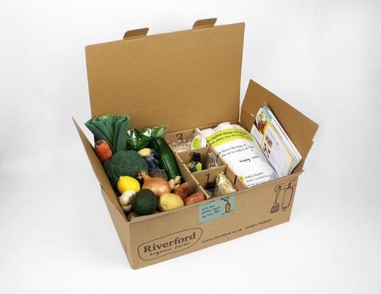 Pro2Pac award winning Riverford recipe box by Atlas Packaging