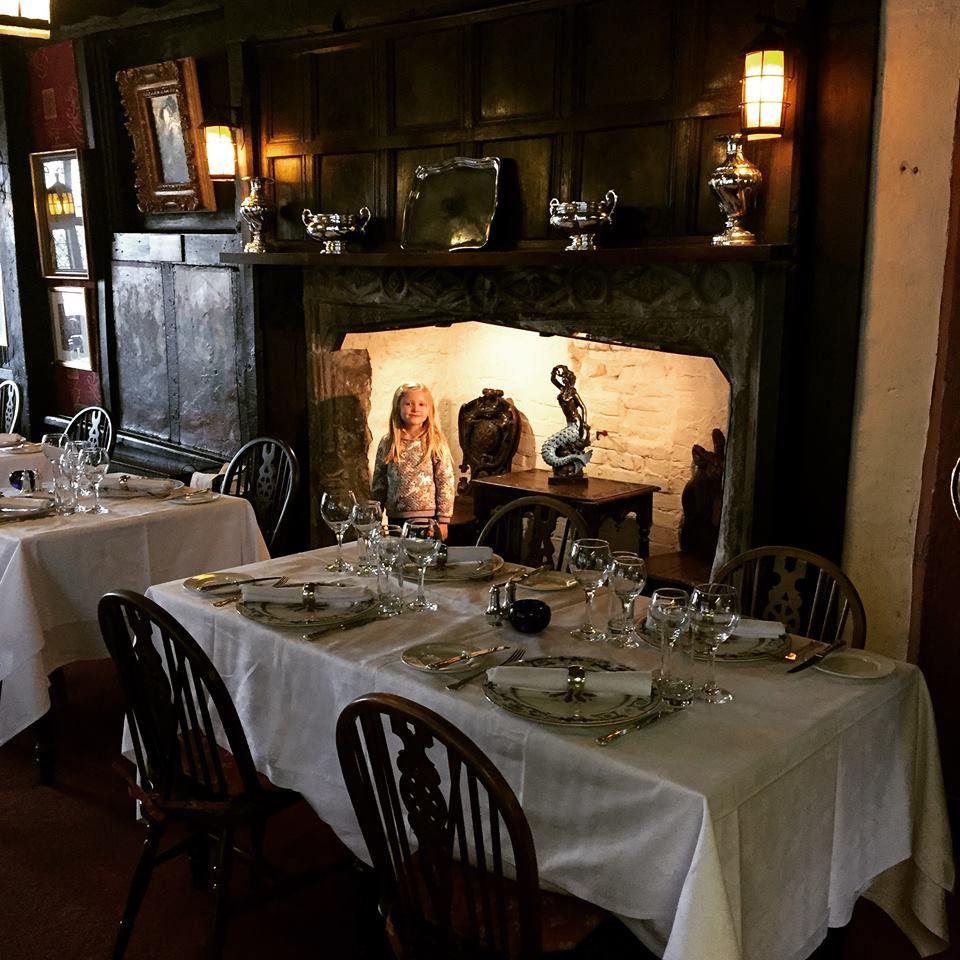 Inside the dining room of the Mermaid Inn
