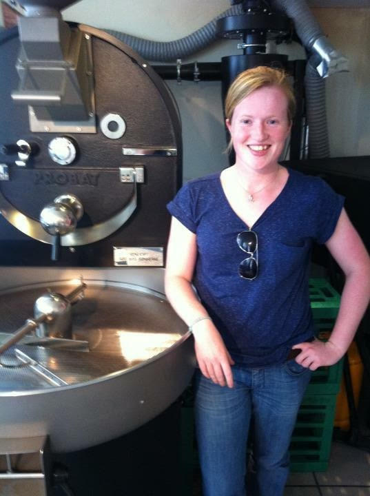 Lynsey with her coffee roaster.