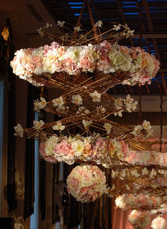 Pink and Gold Rustic Floral Chandelier