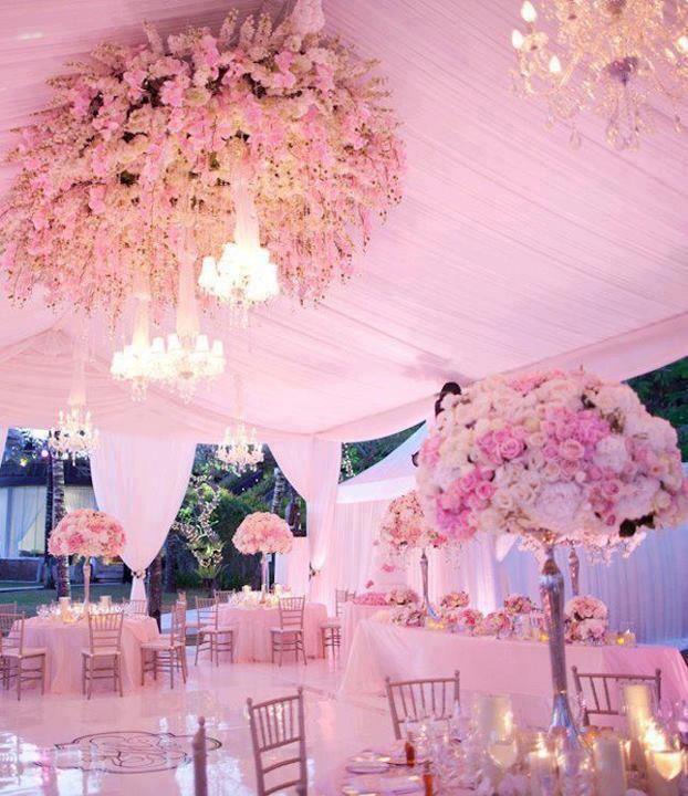 Pink Floral Chandelier