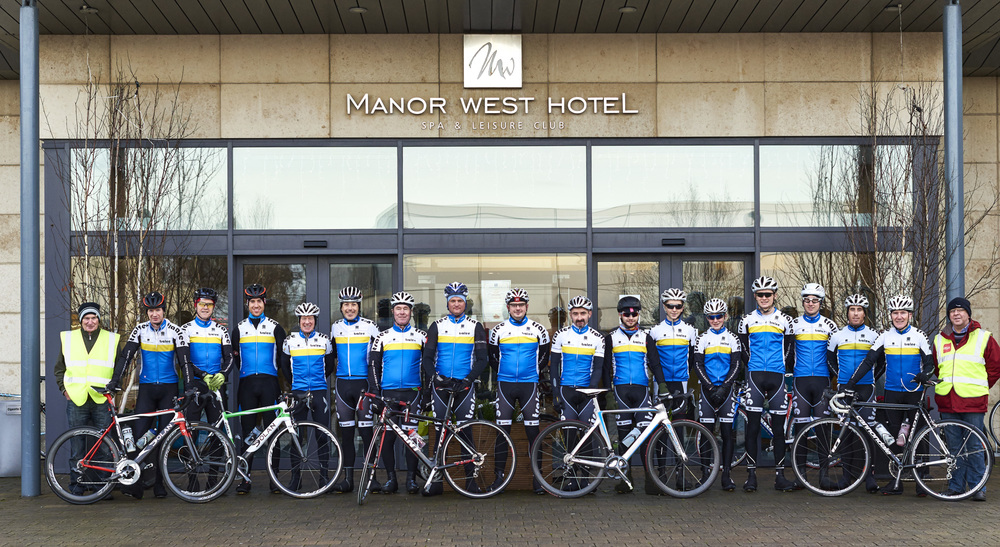 Members Of Tralee Manor West BC, before their 2014 Club Hamper Race. (L-R) Martin Lacey, Jerry McCarthy, Tony Daly, Cathal Moynihan, Seamus Hoare, Barry Murphy, Michael O'Connell, John Stitson, Michael O'Sullivan, Mike Leahy, Mikey Moriarty, Cillian Tierney, Cian Smailes, Oran Pierse, Cormac Daly, Cian Hogan, Matt Lacey, Bernard Keane