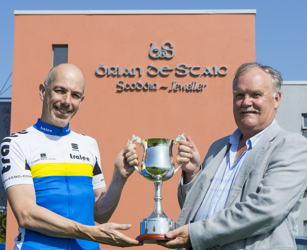 Tralee Manor West BC Chairman Barry Murphy and Brian De Staic with the Michael De Staic Memorial Cup