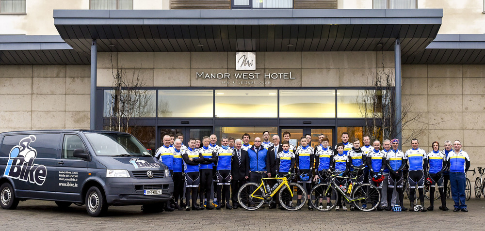 Members of Tralee Manor West iBike at the launch of their 2016 season with main sponsor Manor West Hotel and new additional sponsor iBike.