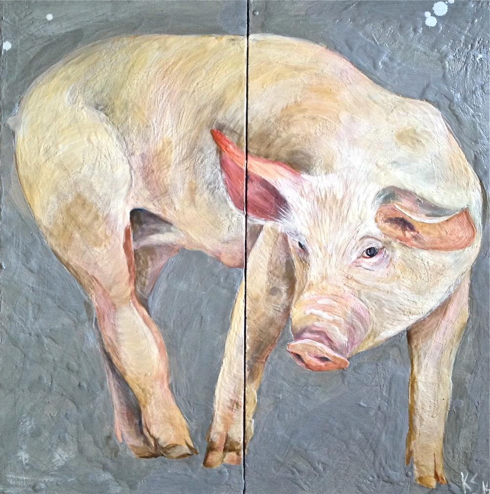 Grey Oink Diptych 2014