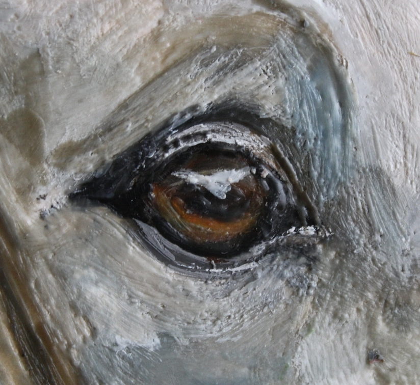 "Eye detail from ""Tess""  Encaustic on Board"