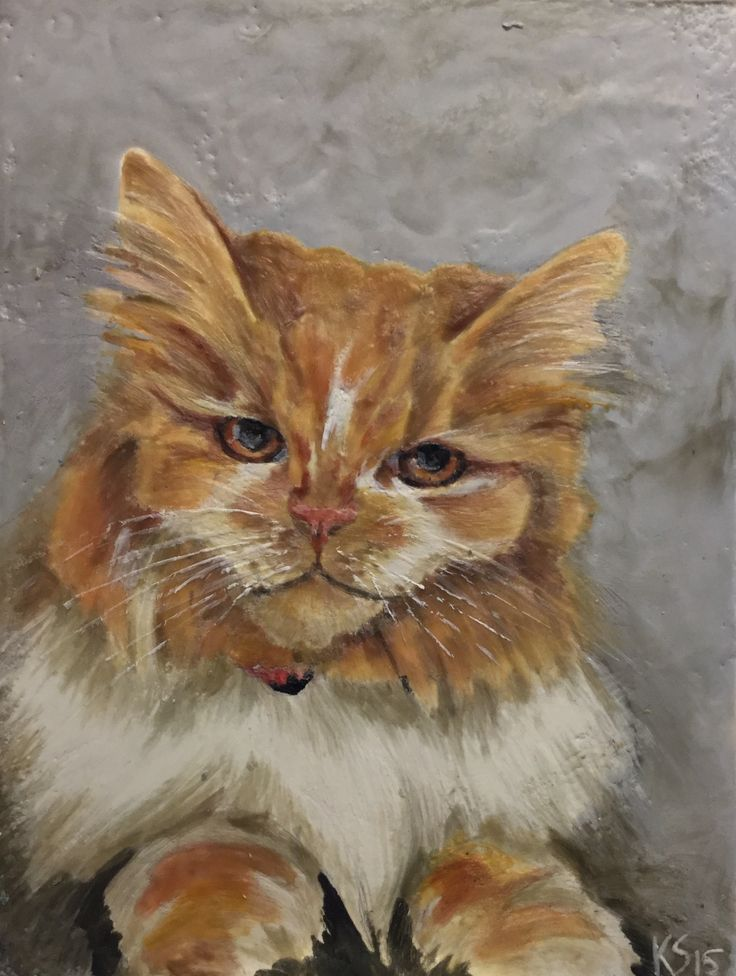 """Snickers"" Encaustic on Board 9"" x 12"""