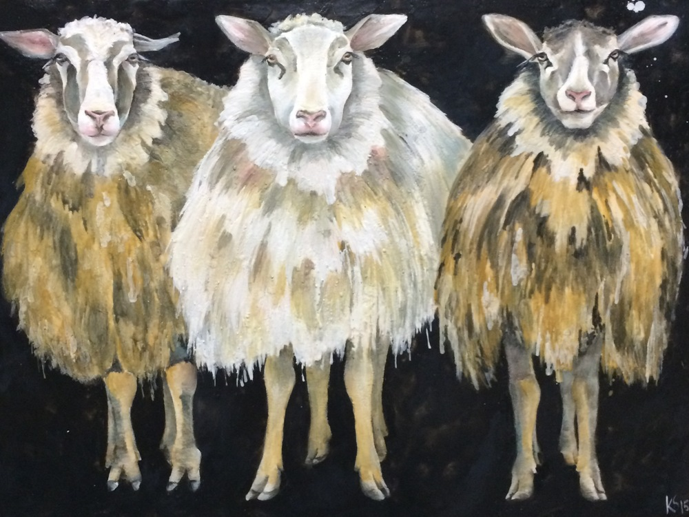 """The 3 Graces"" 48 x 36 Encaustic on Board"