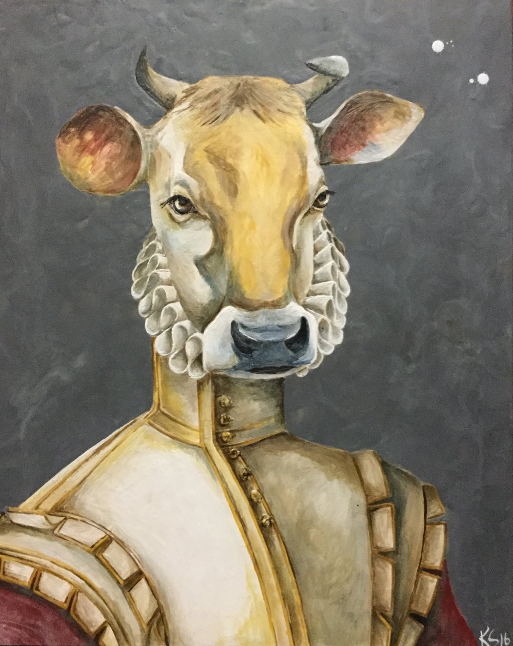 Major of Moo 2017 24x30 Encaustic on Panel