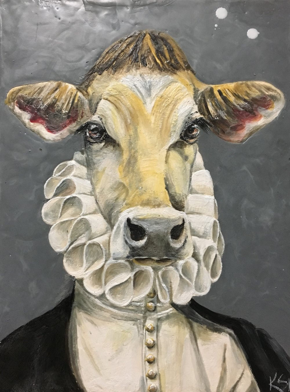 Baron of Bovine 2017 12x16 Encaustic on Panel