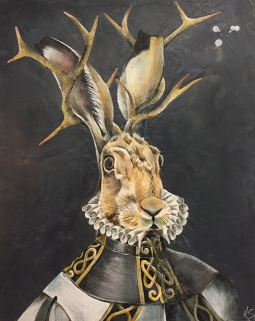 The Antlered Hare 2017 24x30 SOLD