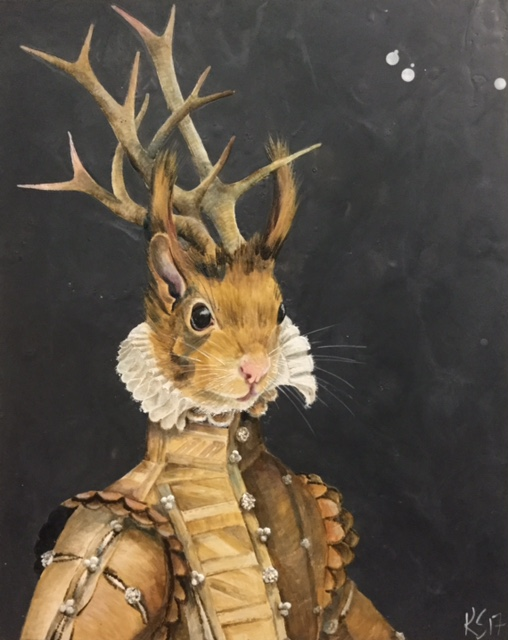 "The Antlered Duke of Acorn 2017 SOLD 24""x 30"""
