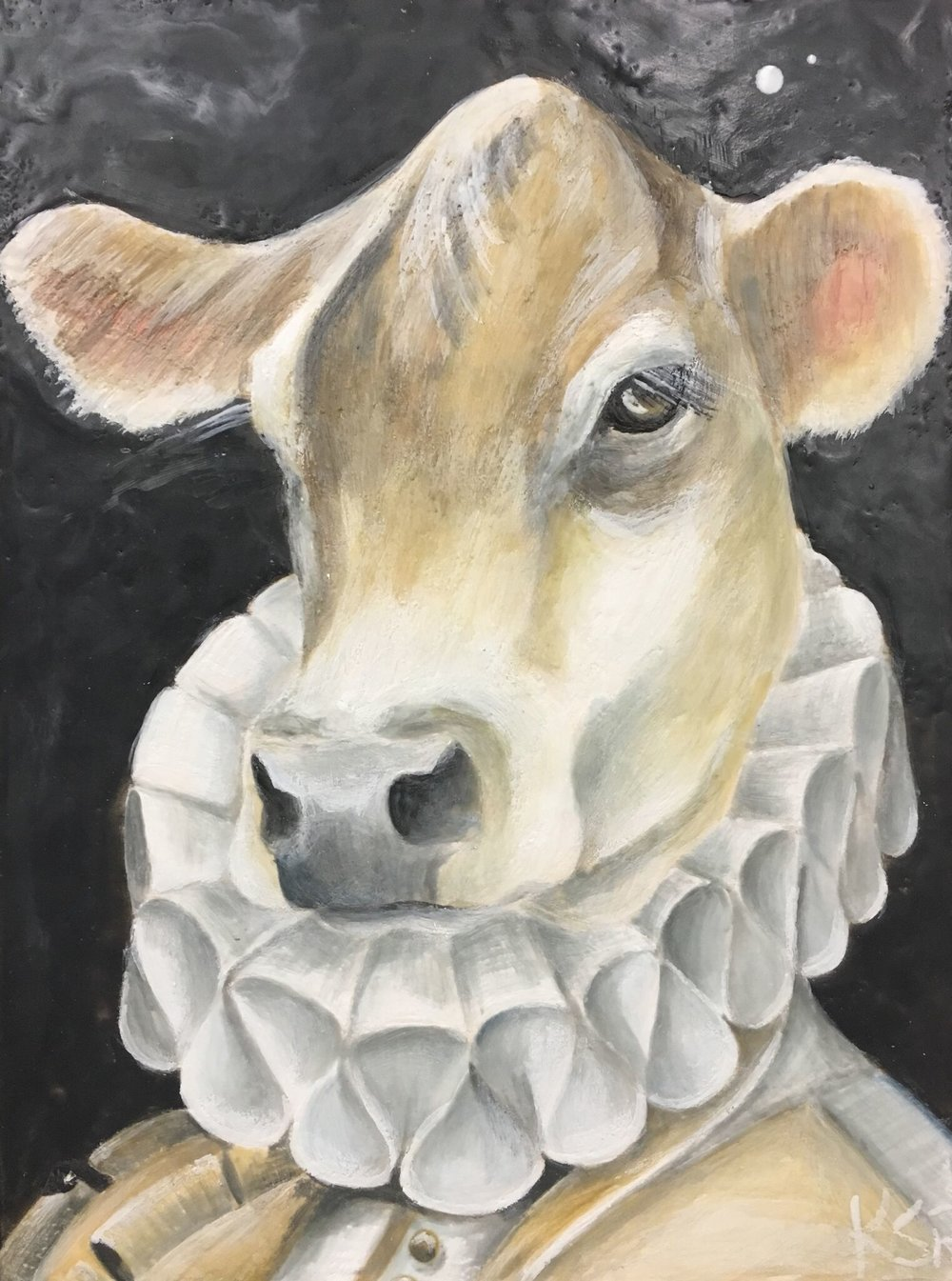How Now Brown Cow 2017 12x16 Encaustic on Panel