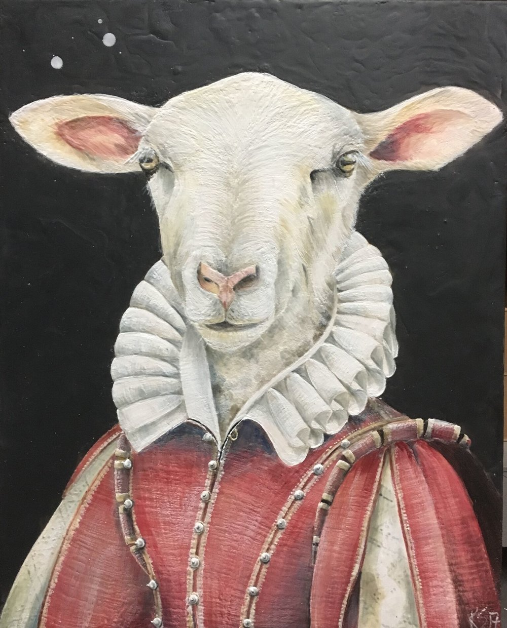 The Regal Ruminant 2017 24x30 Encaustic on Panel