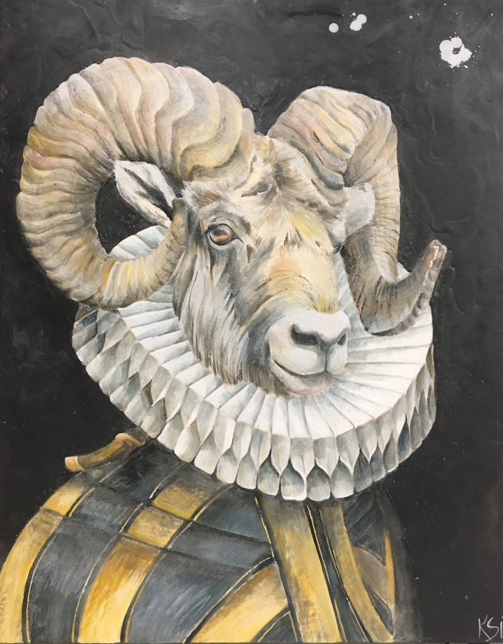 The Regimental Ram 2017 24x30 Encaustic on Panel