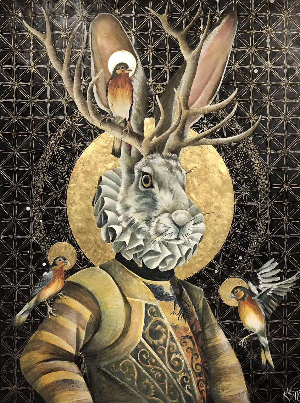 "Sweet Nothings 2018 Available.. 36""x 48"" Encaustic & Gold Leaf on Panel"