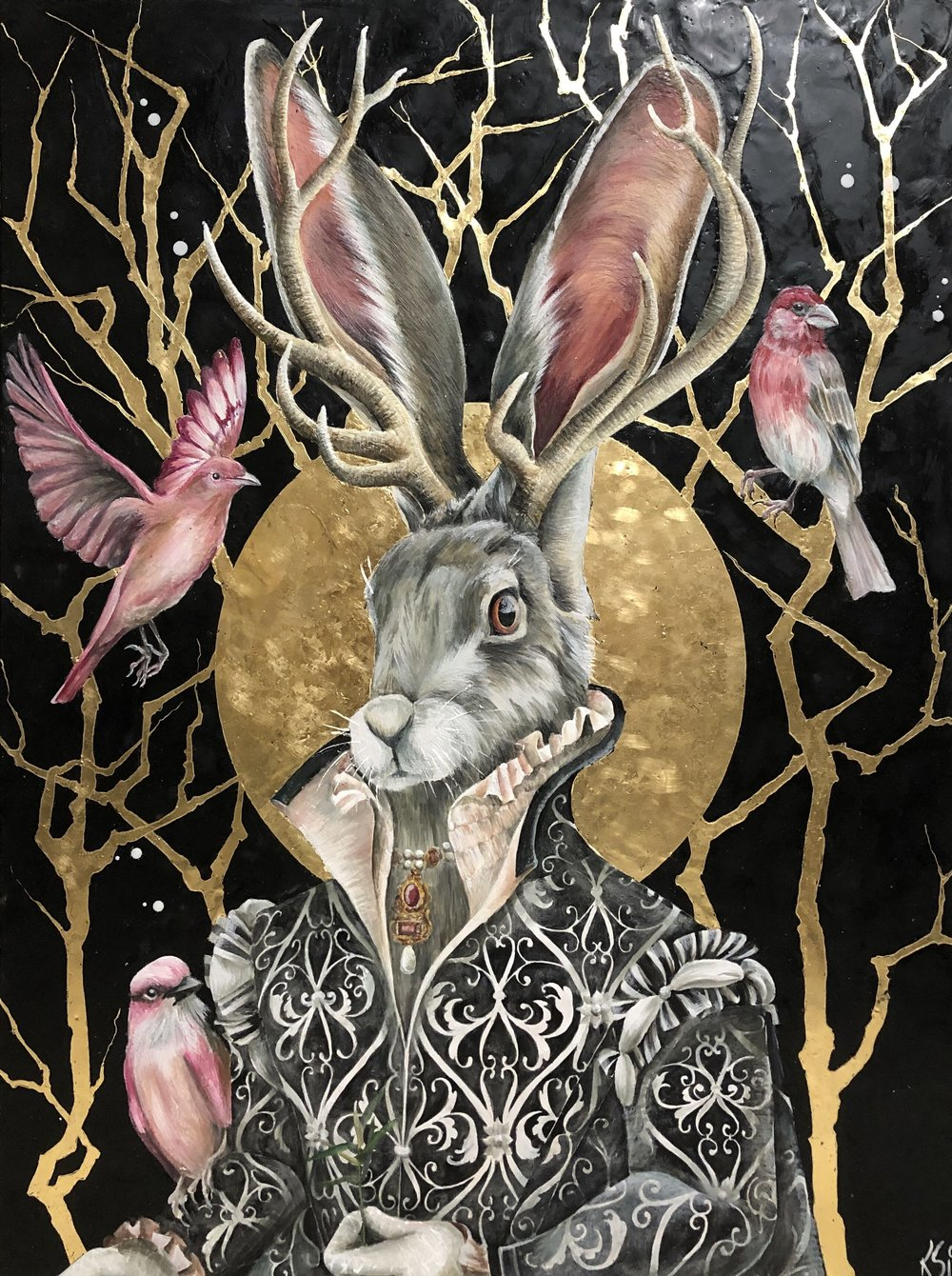 """The Song Of Peace 2019 Available... 36""""x 48"""" Encaustic & Gold Leaf on panel"""