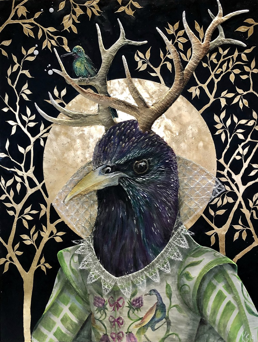 """The Summer Starling 2019 Available.. 30""""x 39"""" Encaustic & Gold Leaf on panel"""
