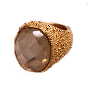 22K Gold & Faceted Moon Stone Ring