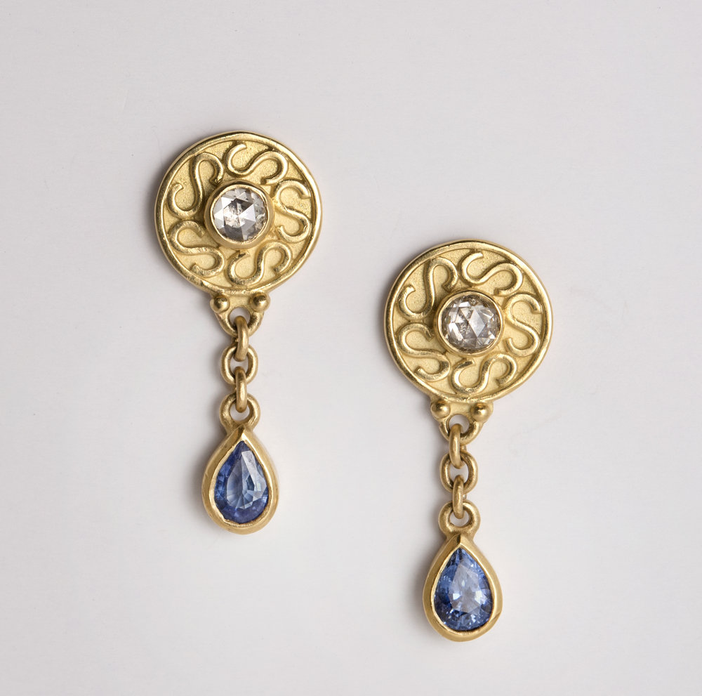 20K Rose Cut Diamond and Sapphire Earrings
