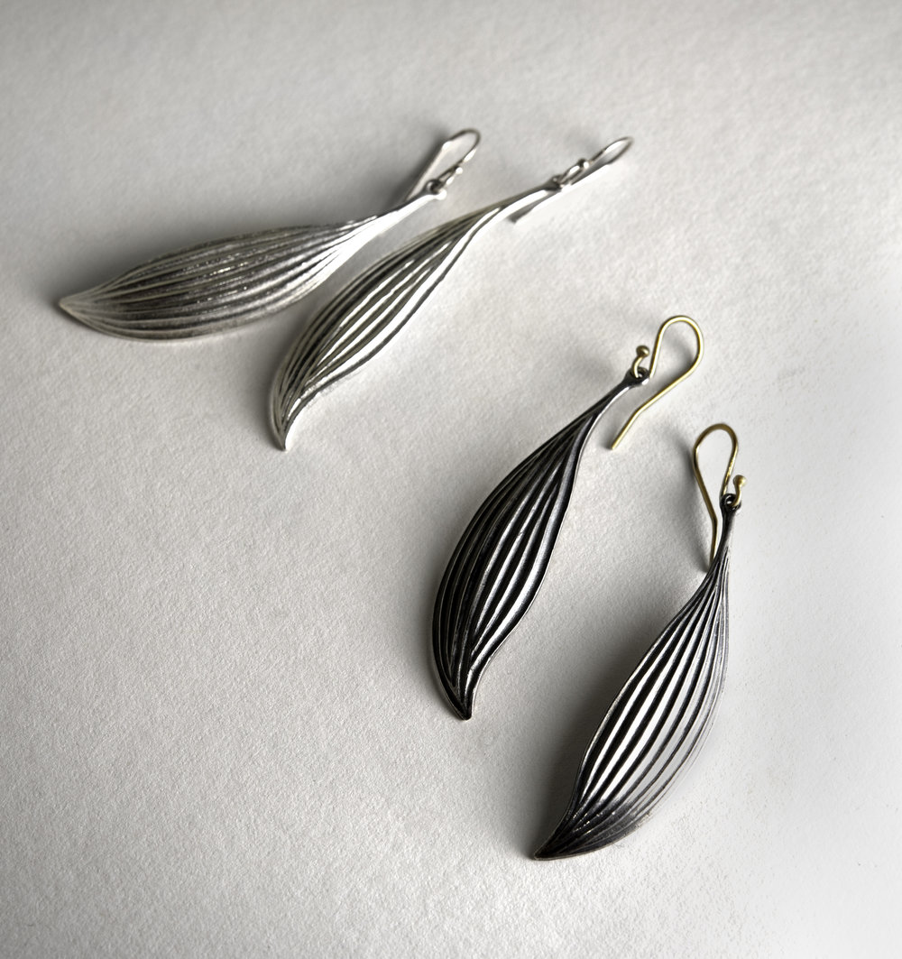Sterling Silver and 14Kt Leaf Earrings