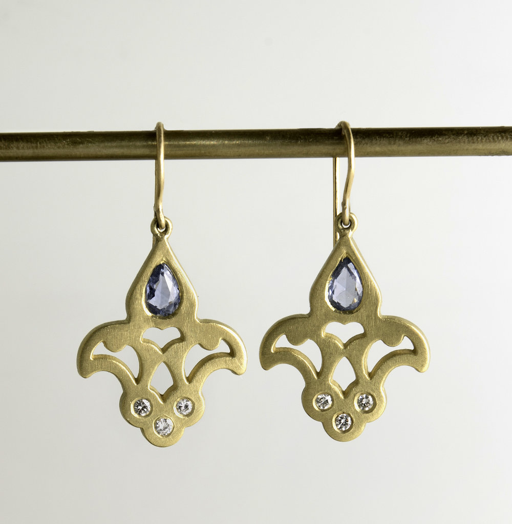 20Kt Fleur De Lis Sapphire and Diamond Drop Earrings