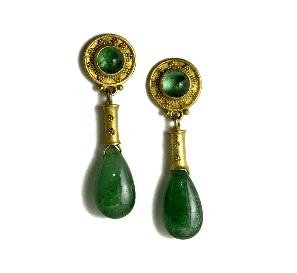 22K Gold , Granulated Cabachon Emerald Drop Earrings