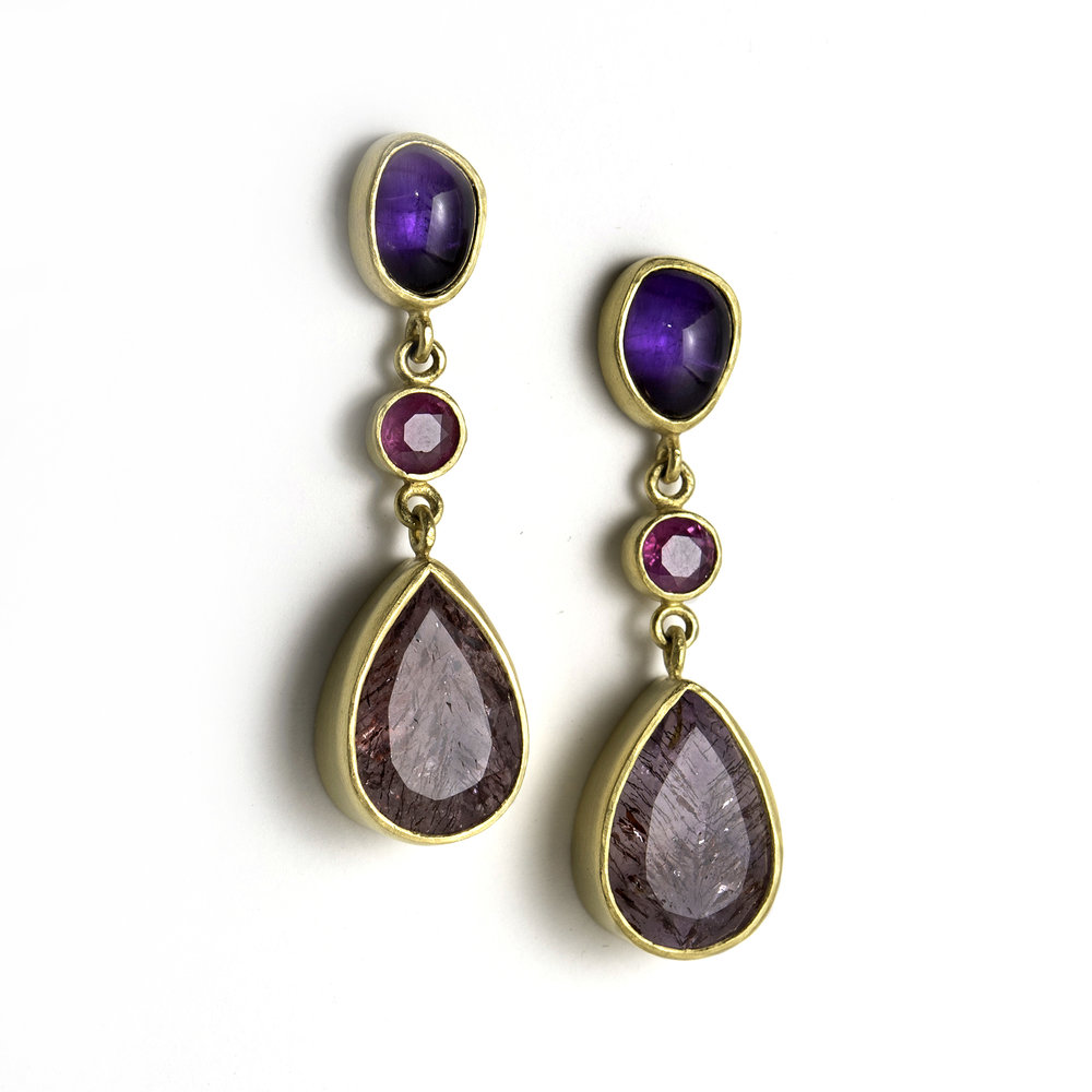 22Kt Amethyst, Ruby, and Strawberry Dendritic Quartz Earrings