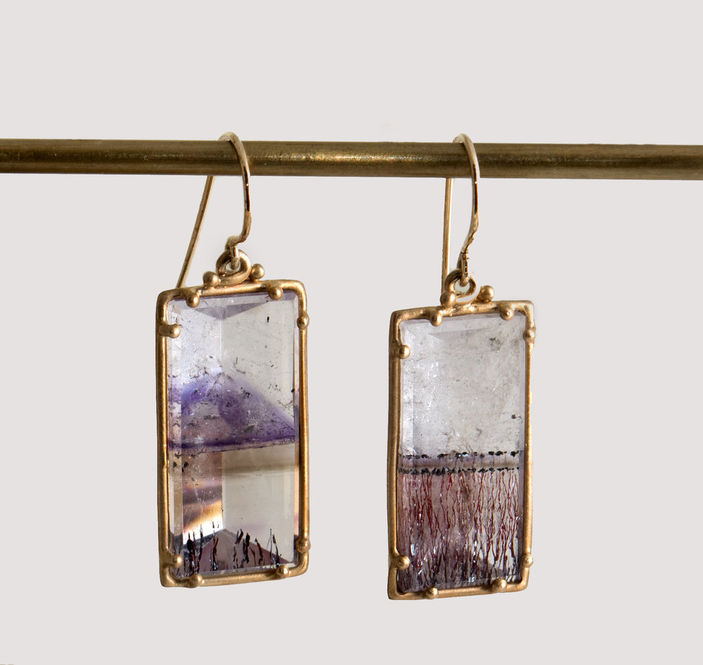 10Kt Amethyst, Strawberry Dendritic Quartz Drop Earrings