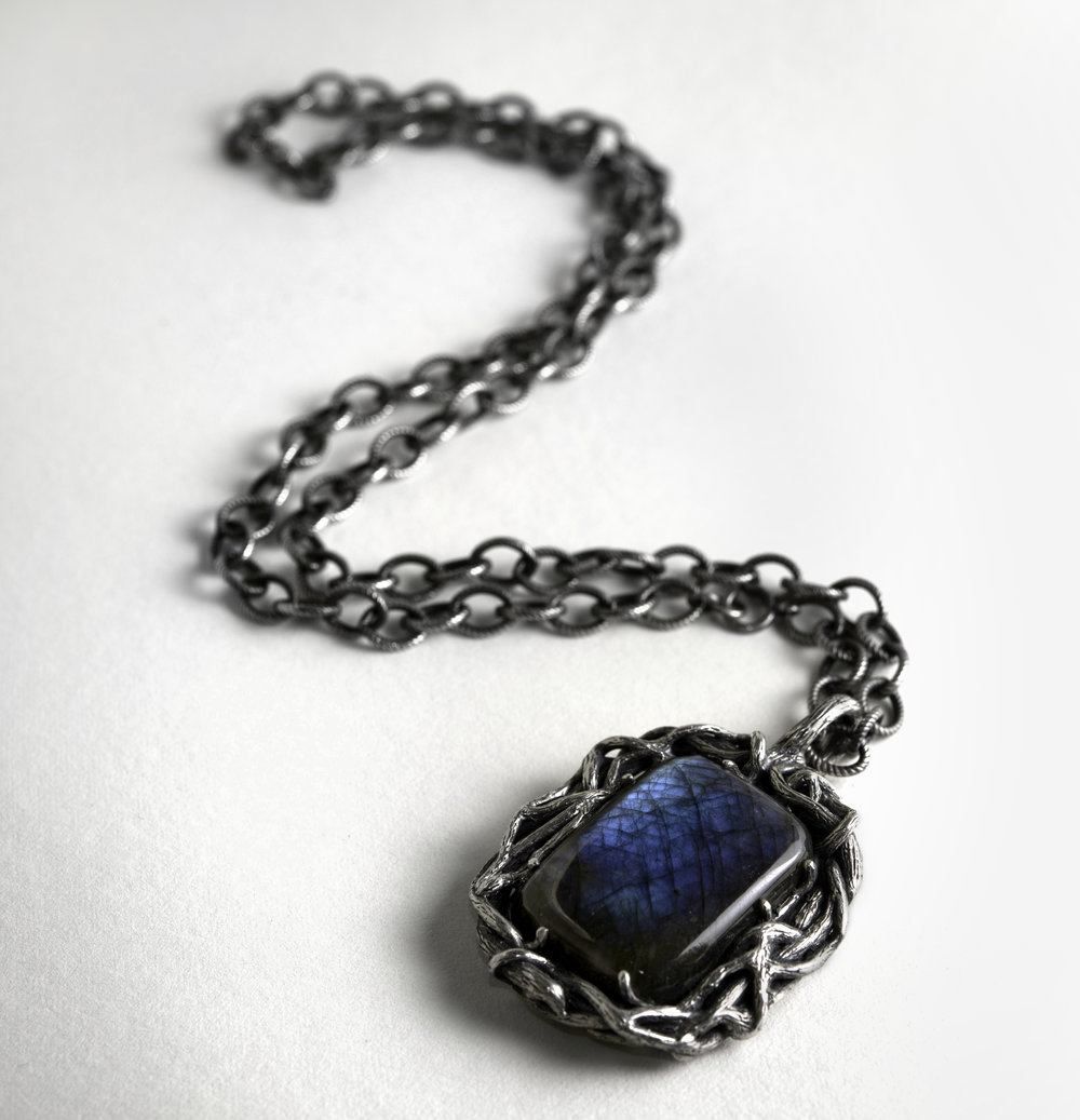 Sterling Silver Branch Pendant with Labradorite